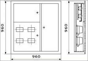 Общий вид и габаритные размеры щитков этажных ЩУР - Э1В41: